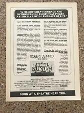 1979 Vintage 8X11 Movie Promo B&W Print Ad For The Deer Hunter Robert Deniro