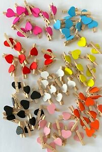 10 Mini Wooden Pegs with Colour Hearts Craft Party Decorations Size 3*1.5 cm