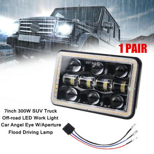 "2X 7"" 300W Car SUV Truck Off-road LED Angel Eye Work Light W/Flood Driving Lamp"