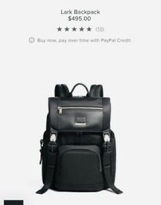 TUMI Lark Backpack Black Color. New w/ Original Tags $495