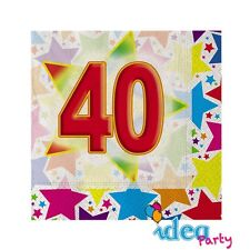 TOVAGLIOLI 40 ANNI 20 pz Addobbi tavola festa adulti 40° Compleanno