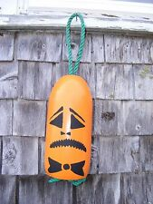 Halloween Jack-O-Lantern Pumpkin Painted on Authentic Maine Lobster Trap Buoy #4