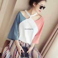 Korean Women 3/4 Sleeve Halter Off Shoulder Colorblock Casual T-shirt Tops S-2XL