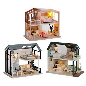 Wood Dollhouse Beautiful Light Miniature Furniture Kits DIY Houses for Xmas Gift