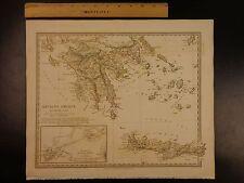 1844 BEAUTIFUL Huge Color MAP of Southern Ancient Greece South Morea Crete ATLAS