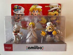 Amiibo Bundle — Wedding Mario, Wedding Peach, and Wedding Bowser. New, in box.