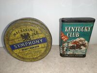 Kentucky Club & Symphony Vintage Pipe and Cigarette Tobacco Pocket Tin
