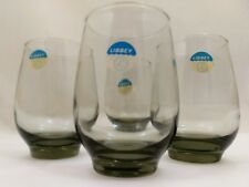 NOS 8 Libbey TEMPO 10oz Tumblers GLASSES Vintage SMOKE Goblets TAWNY Antique LOT