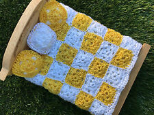 AFGHAN crochet miniature dollhouse bed blanket 1:12 scale granny square yellow*