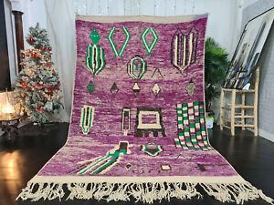 "Boujad Handmade Moroccan Vintage Rug 6'4""x9'8"" Abstract Purple Berber Wool Rug"