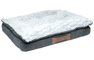 Dog Bed Grey Corduroy & Faux Fur Ultimate Luxury Memory Foam Mattress Petface
