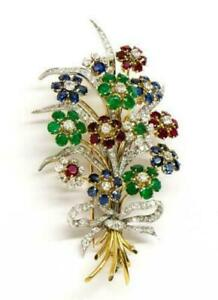 Antique 14k yellow gold over French diamond ruby,emerald,sapphire brooch pin