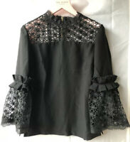 "Ted Baker 'Wiyana' Black Mixed Lace Peplum Top Size 4 UK 14 Chest 40"" RRP £130"
