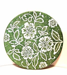 Vintage Ideal Ironstone China Cake Plate Green White Flower Doily Pattern 11 in