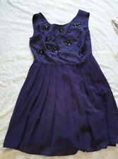 Next Purple Beaded Jewelled Dress Pleated Skirt Skater Party Size 10 Womens