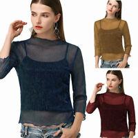 US  Women See through Lace Mesh Sheer Long Sleeve Crop Top T Shirt Blouse Tee