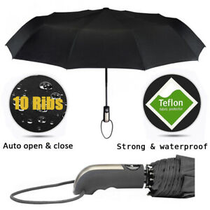 Black Automatic Compact Windproof Folding Umbrella Auto Open Close Button Strong