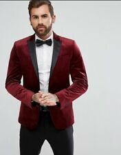 20a488532973 NEW GIANNI FERAUD PREMIUM RED VELVET SATIN COLLAR BLAZER JACKET SIZE 44