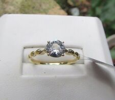 1.15 cts Genuine Zircon Solitaire Engagement Size 7 Ring in 10k Yellow Gold