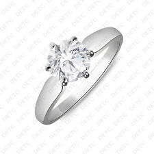 Finish 1.90 Carat Solitaire Engagement Ring Simulated Round Shape 14K White Gold