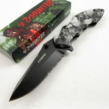 NEW Z-Hunter Gray Skull Black Serrated Tactical Spring Assisted Folding Knife