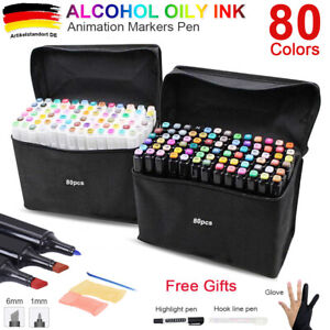 80+3 Lackmarker Stifte Set Touch Copic 1/6mm Twin Tip Sketch Painting Handschuhe
