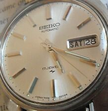 Clean Vintage S/S 1973 Men's Seiko Automatic 17 Jewel D/D Watch 7006-8007 Runs