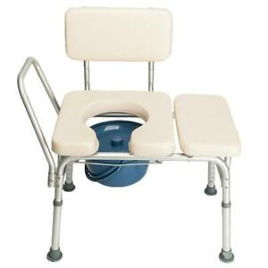 White Bedside Commode Chair Portable Potty Toilet Paded Seat Adjust Height