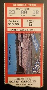 North Carolina Georgia Tech Football Ticket Stub 11/10 1984 Ethan Horton Raiders