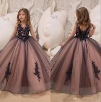 Neu V-Ausschnitt Spitze Blumenmädchen Kleider Mädchen Geburtstag Festzug Kleider