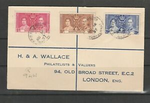 Montserrat 1937 Coronation, Wallace Registered cover, Not First day, Imprint