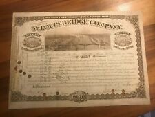 New Listing1887 St Louis Bridge Railway Company scripophily stock certificate bond shares