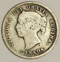 1891 Canada 🇨🇦 5 Cents Silver Coin Half Dime, free combined Shipping