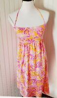 Lilly Pulitzer Halter midi Sundress dress  Floral Smocked orange pink Medium M