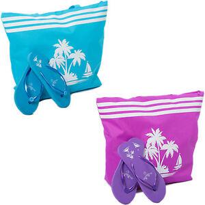 Beach Bag Womens PLUS Flip Flops Set 2 PCE Palm Tree Large Tote Summer Bags