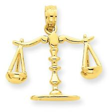 14k Solid Yellow Gold 3-D Moveable Scales of Justice Pendant - SKU #119744
