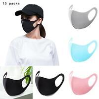 SALE! 15 PCS - Face Mask Reusable Washable Unisex Four Colors Mouth Cover