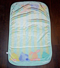 Tykes Carters Cute and Cuddly Baby Blanket Green Stripe Bunny Dog Bear Duck