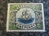 BARBADOS POSTAGE REVENUE STAMP SG152 ONE PENNY LIGHTLY-MOUNTED MINT