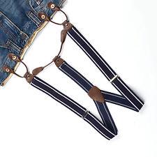 Suspender Adjustable Braces Navy Blue White Stripes Unisex Button Holes BD717