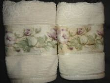 CROSCILL ROSE TRAIL AMETHYST GREEN PURPLE CREAM FLORAL (2) HAND TOWELS 15 X 25