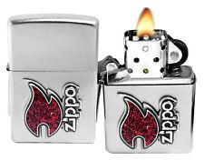 Zippo Lighter 28847 Red Flame Logo Emblem Satin Chrome Windproof Pocket Classic