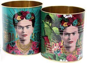 Set Of 2 Frida Kahlo Retro Storage Tin ~ Decorative Display Can ~ Turquoise and