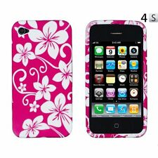Hot Pink Flower Skin TPU Soft Gel Phone Cover Case For Apple Iphone 4GS 4G 4S