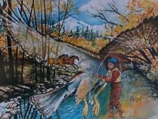 "Amazon Woman Series ""Fly Fishing Diva"" Feminist Wolf Pat Wiles Hawk Horses"
