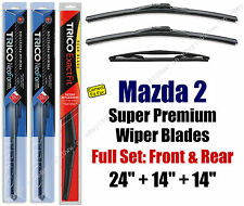 Top-of-the-line Wipers 3pk Front & Rear fit 2011-2014 Mazda 2 - 16240/140/14B