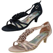 Anne Michelle Women's Textile Strappy, Ankle Straps Kitten Shoes