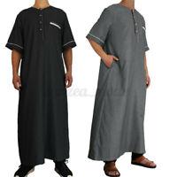 Muslim Mens Saudi Arab Short Sleeve Caftan Thobe Islamic Jubba Thobe Kaftan Tops