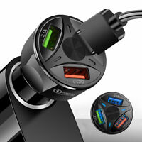 3 Ports USB Car Charger Adapter LED Display QC 3.0 Fast Charging for All Phone