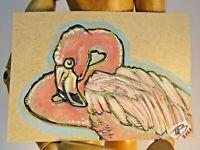 PINK FLAMINGO Art Original Watercolor ACEO Sketch Card  artwork Pen and Ink